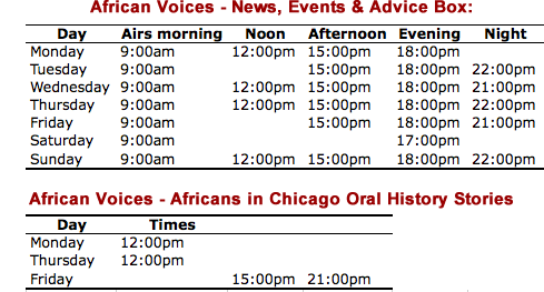 Schedule for African Voices Podcast